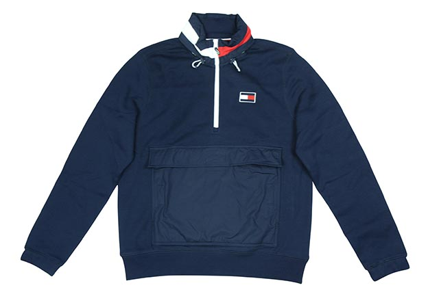 TOMMY HILFIGER HALF ZIP SWEAT(NAVY)