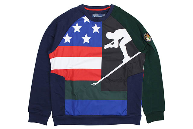 POLO RALPH LAUREN DOWNHILL SKIER DOUBLE-KNIT GRAPHIC SWEATSHIRT (710717625001:NEWPORT NAVY/HUNT CLUB GREEN)
