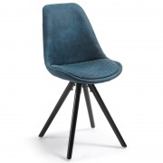 LARS Chair black wood quilted fabric blue【4脚セット】